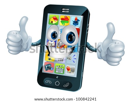 Black mobile phone mascot character cartoon illustration giving a thumbs up - stock vector