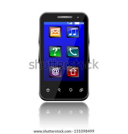 Black mobile phone on white isolated background - stock vector