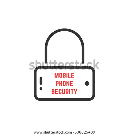 black mobile phone security icon. concept of defense imprint, secret, ui, gadget communication, call, global computer software. flat style trend modern logotype graphic art design on white background