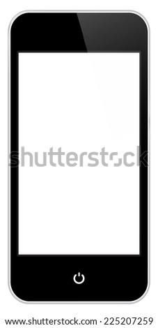 Black Mobile Phone Similar To iPhone Isolated On White - stock vector