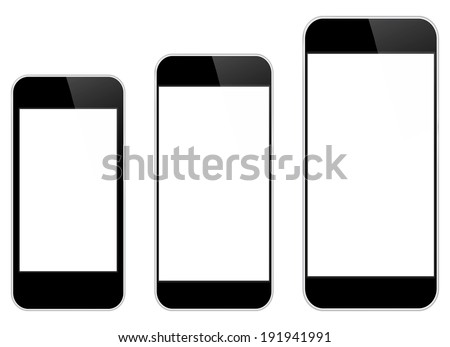 Black Mobile Phones Comparison Between Similar iPhone 5 And iPhone 6 Isolated On White - stock vector