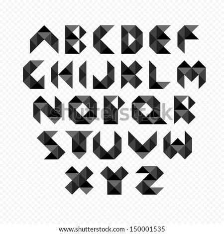 Black modern alphabet set. Vector Illustration - stock vector