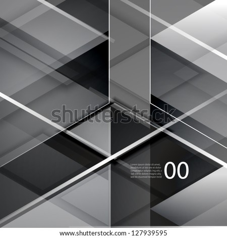 Black modern geometric abstract background - stock vector