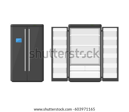 black modern household appliances fridge with two doors isolated on white background electronic device refrigerator - Modern Home Appliances