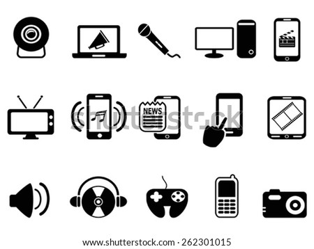 black modern mobile media icons set - stock vector