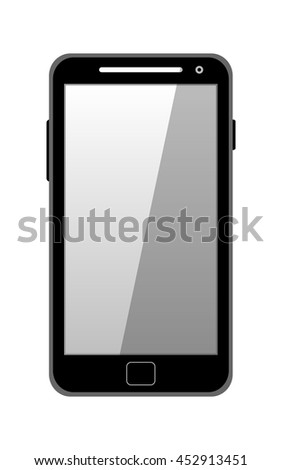 Black modern mobile phone isolated isolated on white. Vector illustration