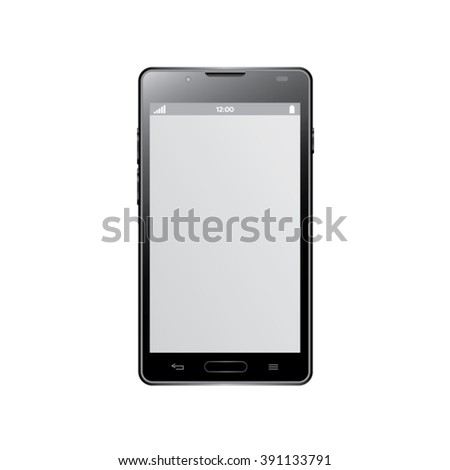 Black modern smartphone isolated.