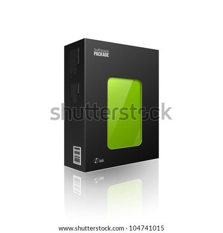 Black Modern Software Package Box With Green Window For DVD Or CD Disk EPS10 - stock vector