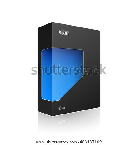 Black Modern Software Product Package Box With Blue Window For DVD Or CD Disk. 3D Products On White Background Isolated. Ready For Your Design. Product Packing. Vector EPS10 - stock vector