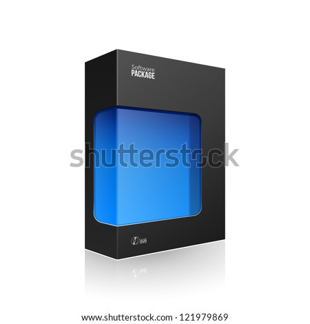 Black Modern Software Product Package Box With Blue Window For DVD Or CD Disk EPS10 - stock vector