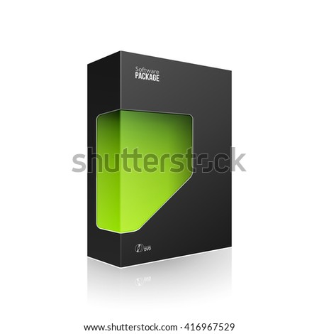 Black Modern Software Product Package Box With Green Window For DVD Or CD Disk. 3D Products On White Background Isolated. Ready For Your Design. Product Packing. Vector EPS10 - stock vector