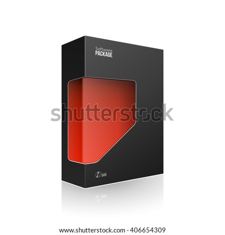 Black Modern Software Product Package Box With Red Window For DVD Or CD Disk. 3D Products On White Background Isolated. Ready For Your Design. Product Packing. Vector EPS10 - stock vector