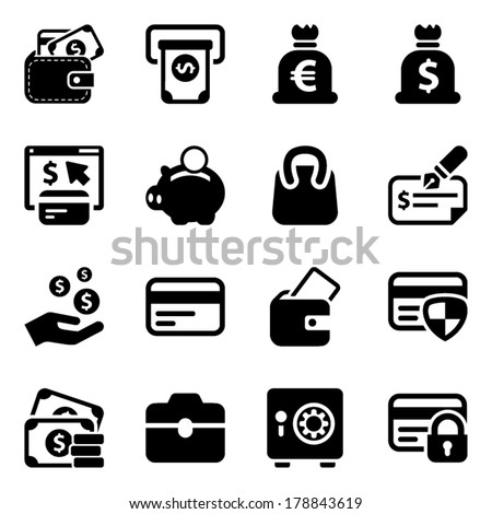 black money icons set, for business and finance - stock vector