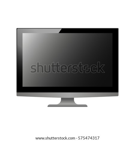 Black Monitor Template Realistic Personal Computer Stock Vector ...