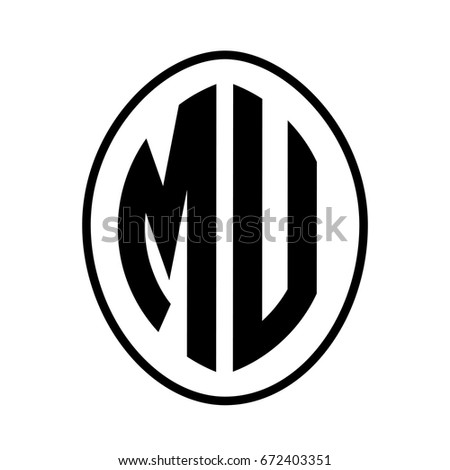 black monogram curved oval shape initial stock photo photo vector rh shutterstock com mu logo vector mu logo images