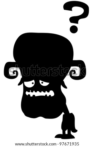 black monster. monster silhouette - stock vector