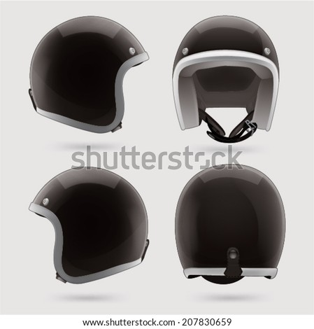 Black motorbike classic helmet. Front, back and side view. - stock vector