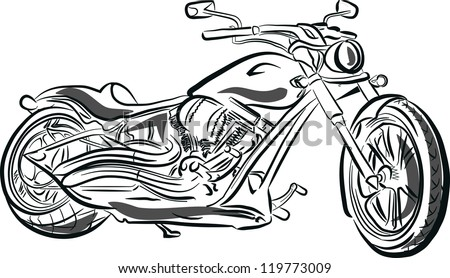 Black motorcycle silhouette. Vector illustration - stock vector