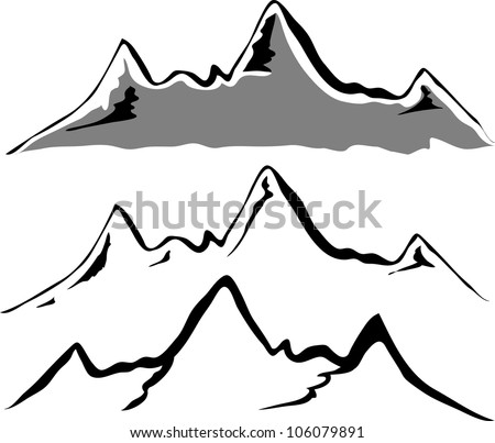 Black mountain vector silhouettes - stock vector