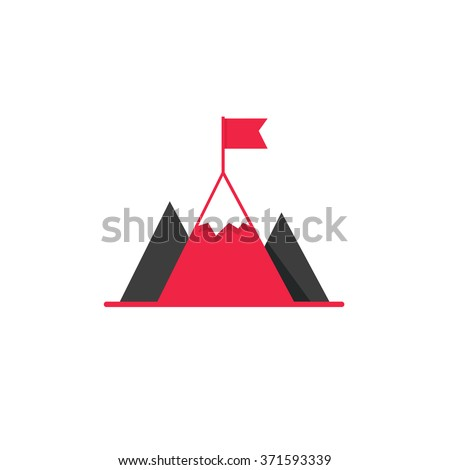 Black mountains with red flag on top vector logo, concept of leadership emblem, achievement success, mission symbol, mountaineering, hiking brand modern flat design isolated on white background - stock vector