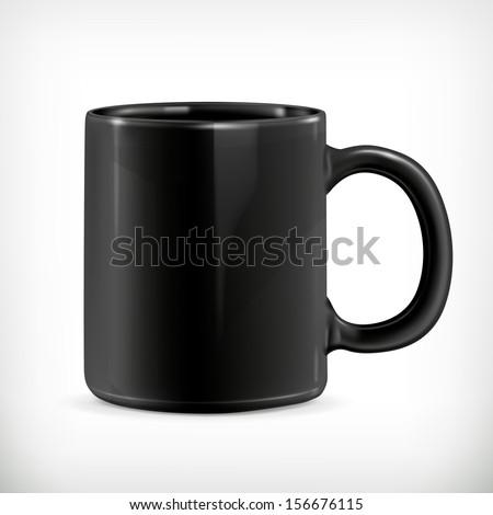 Black mug vector illustration - stock vector
