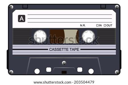 Black music casette, cassette tape, vector art image illustration, isolated on white background, eps10  - stock vector