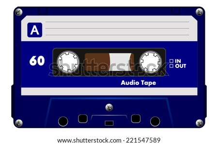Black music casette with navy blue label, audio compact cassette tape, vector art image illustration, isolated on white background, eps10  - stock vector