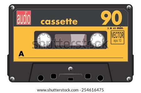 Black music cassette with orange label, audio cassette tape, vector art image illustration, old music technology concept, realistic retro style design. isolated on white background, eps10 - stock vector