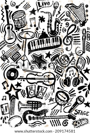Black Music Doodle - stock vector