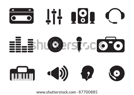 black music icons - stock vector