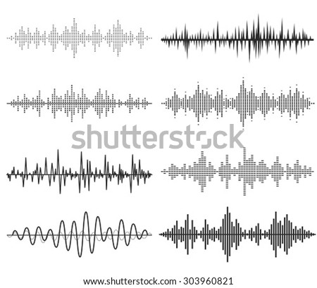 Black music sound waves. Audio technology, musical pulse. - stock vector