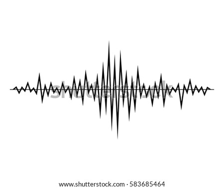 black music sound waves isolated on stock vector 583685464