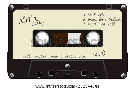Black musiccasette with old dirty white label, that is hand written, cassette tape, vector art image illustration, old music technology concept, realistic retro design, isolated on white background - stock vector