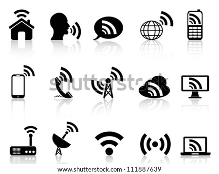 black network icons set - stock vector