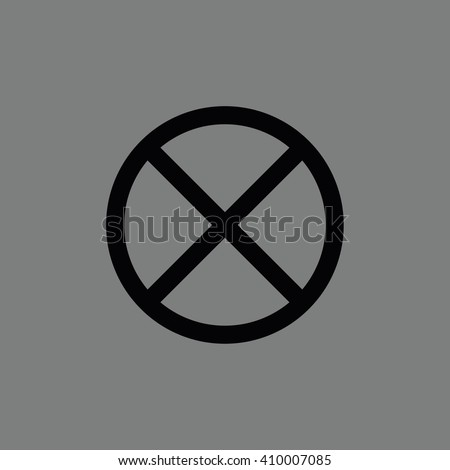 Black no parking vector sign. Gray background - stock vector