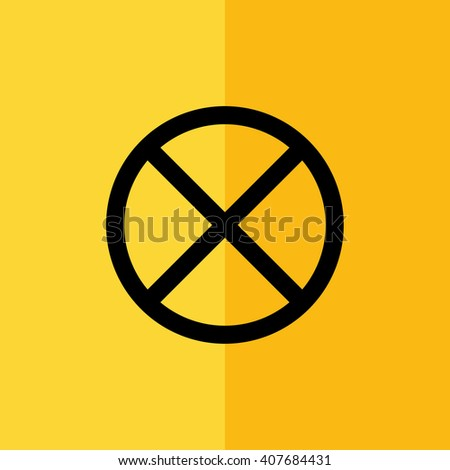 Black no parking vector sign. Yellow background - stock vector