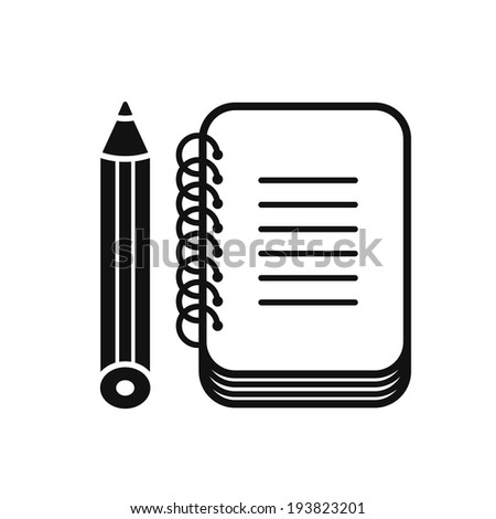 Black notebook icon with pencil, isolated on white background. - stock vector