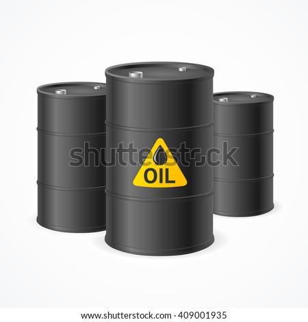 Black Oil Barrel Drums with Labels. Vector illustration - stock vector