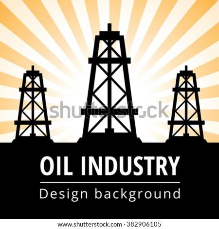 Black oil derrick on rays background - stock vector