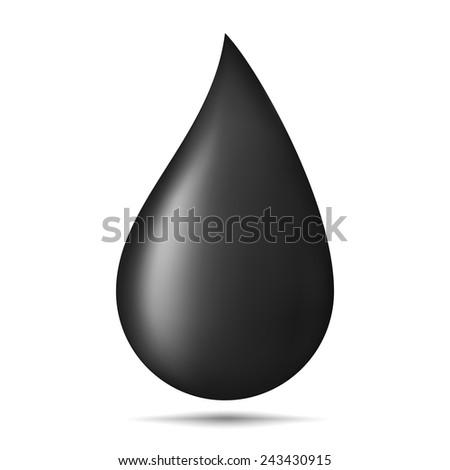 Black oil drop on white background, gradient mesh, vector eps10 illustration - stock vector