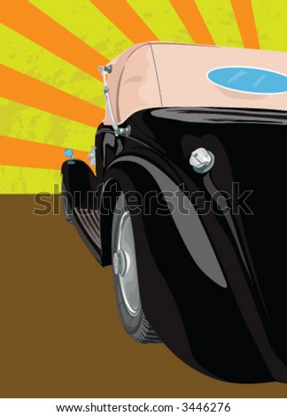 Black Old car - stock vector