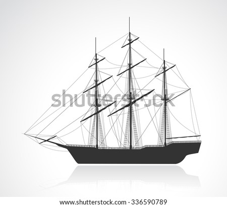 Black old sailing ship silhouette. Detail vector illustration. EPS10.