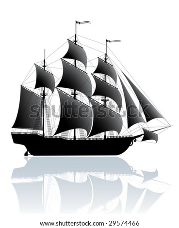 Black old ship isolated on white (vector) - stock vector