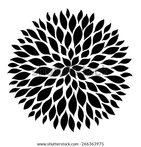 black on white isolated rosette with leaves - stock vector