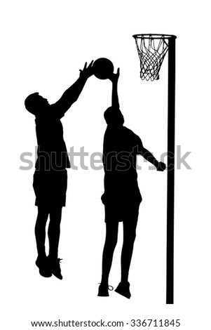 Black on white silhouette of korfball men's league player attempting goal throw