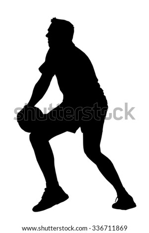Black on white silhouette of korfball men's league player  looking to offload ball