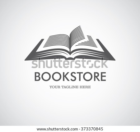 Black open book with text icon. Can be used as logo for bookstore or shop, library, educational or learning concept etc. - stock vector