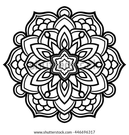 Black Outline Flower Mandala Ornamental Round Stock Vector
