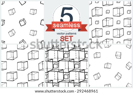 Black outline hand drawn vector cube seamless patter. Set of 5 vector seamless pattern. Cute doodle modern school education geometric isolated elements - stock vector