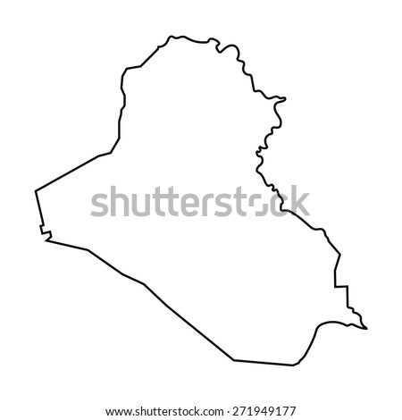 Black Outline Iraq Map Stock Vector Shutterstock - Iraq map outline